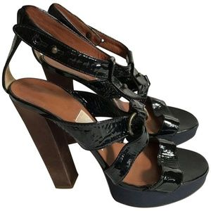 CHLOE Wood Wedge Sandal Brown Leather Ankle Strap